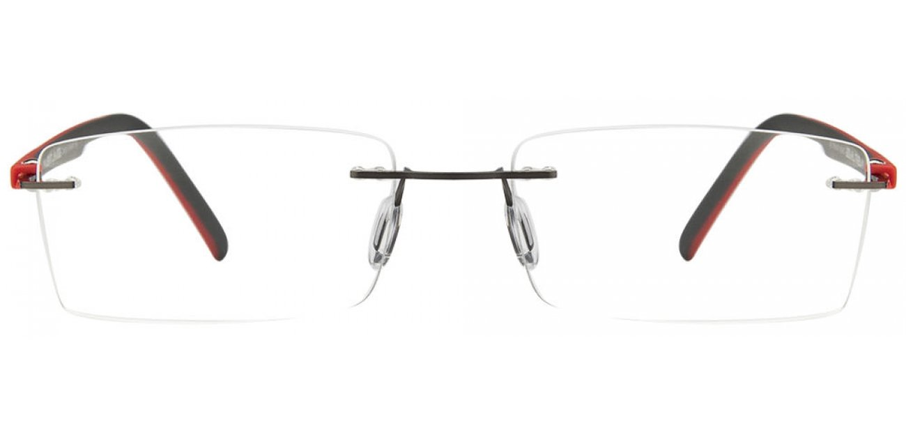 Gunmetal Red Grey Rimless Rectangle Medium (Size-55) Vincent Chase SIZE ZERO VC 0331A- Eyeglasses