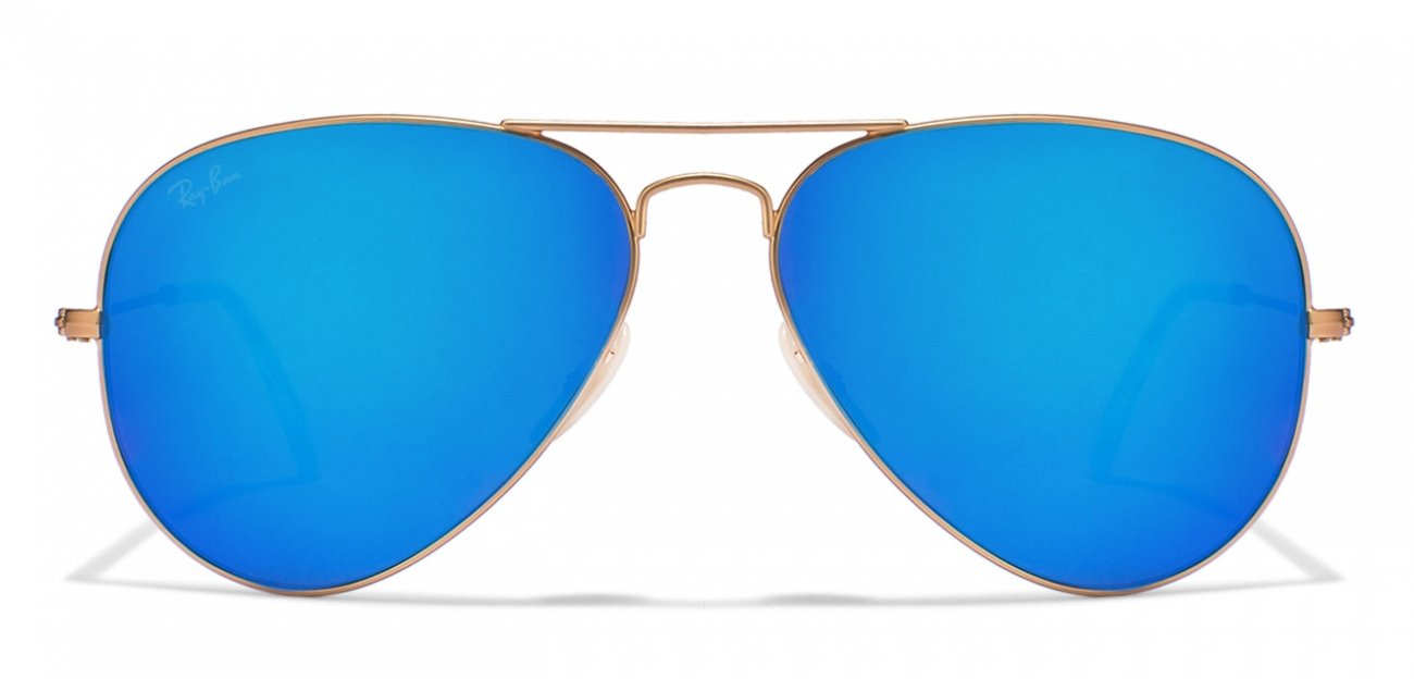 ray ban sunglasses blue aviator  Buy Ray-Ban RB3025 112/17 Size:58 Matt Golden Blue Reflector ...