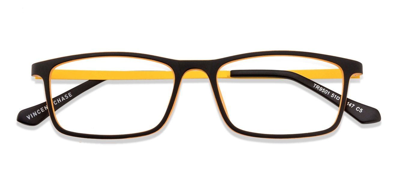 Eyeglass Frames Yellow : Vincent Chase ECO TR 9501 Matte Black Yellow C5 Eyeglasses ...