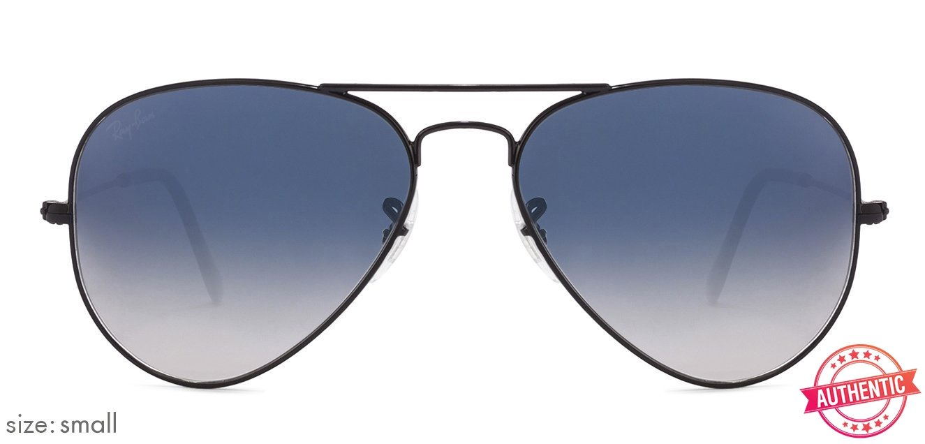 f748aec678c Ray-Ban RB3025 Small (Size 55) Gunmetal Black Blue Gradient 00253F Aviator  Shape Sunglasses