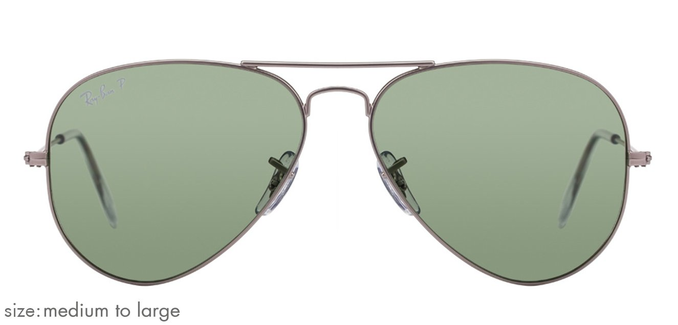 3b97146d1 Ray-Ban RB3025 Medium-Large (Size-58) Matte Silver Green Men Polarized  19-o5 Sunglasses