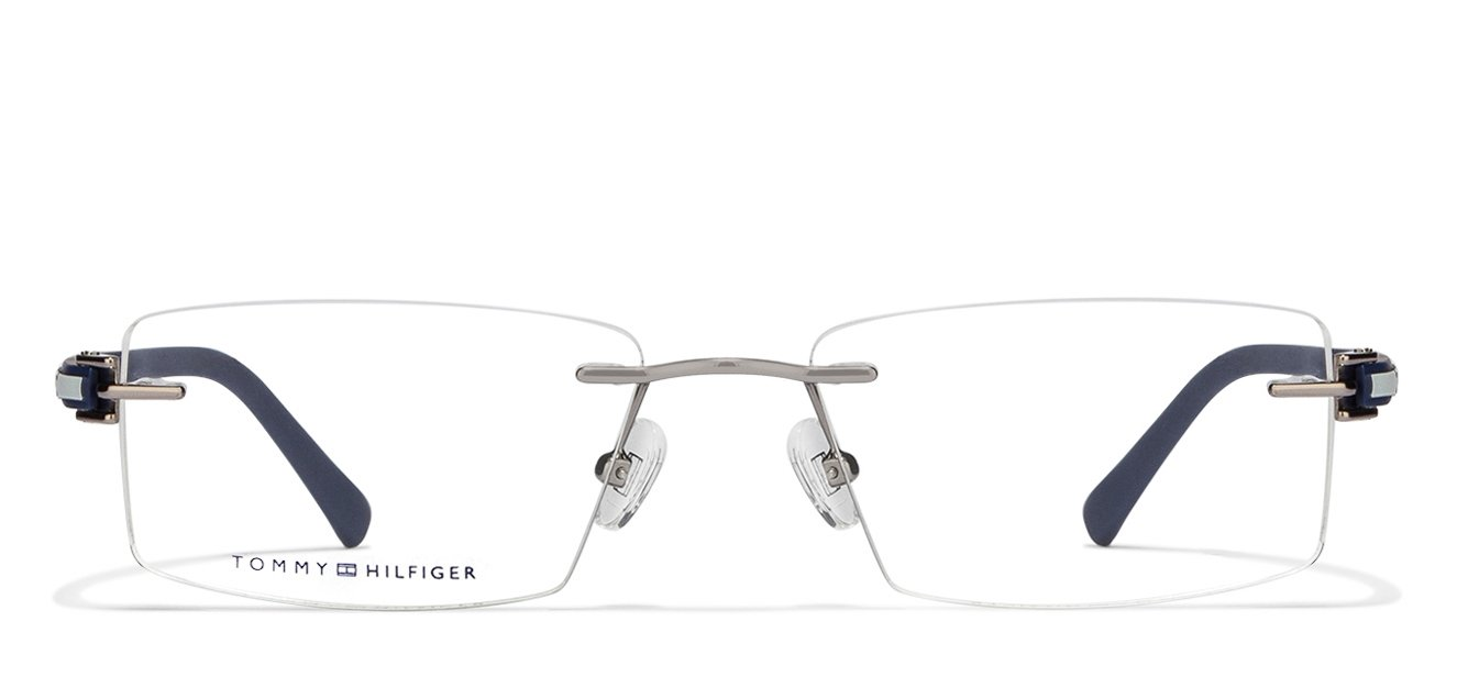 8f248e1c Tommy Hilfiger TH5733 Medium (Size-53) Light Gunmetal White Blue C4 Unisex  Eyeglasses
