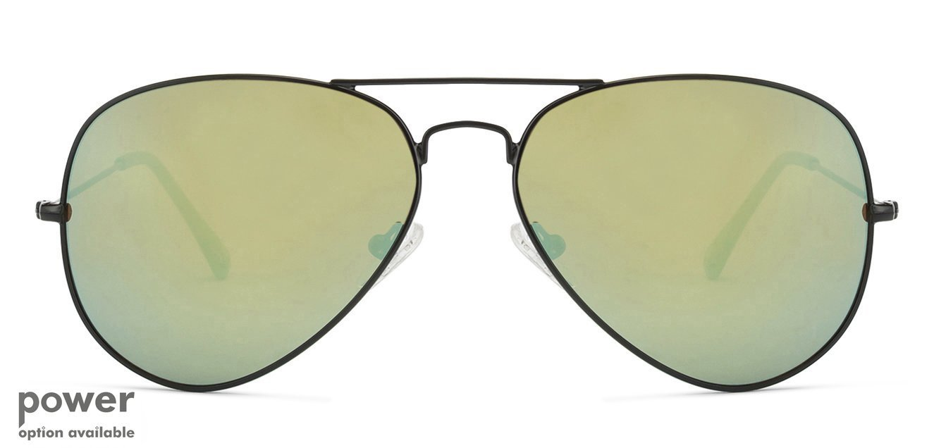 e0db0f80a2e Matte Black Green Yellow Mirror Full Rim Aviator Shape Medium-Large (Size-58)  Vincent Chase POPSTAR VC 5158-1180 X1 Sunglasses