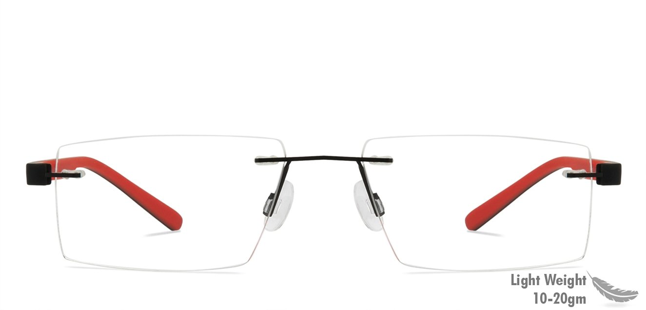 1c99cb5672f Black Red Rimless Rectangle Medium (Size-51) Vincent Chase LUMINEERS VC  E11014 - C1 Eyeglasses