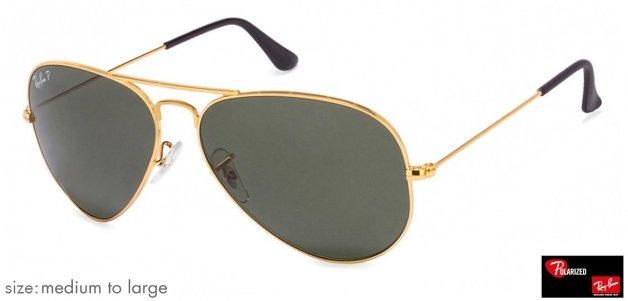 Ray-Ban RB3025 Medium-Large (Size-58) Golden Natural Green Unisex Polarized  58 Sunglasses c21c25c5d9