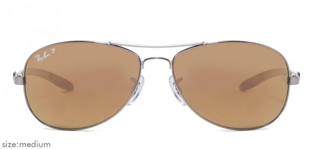34a173a410 Ray-Ban RB8301 Medium (Size-56) Silver Brown Mirror 004 N3 Unisex Polarized  Sunglasses