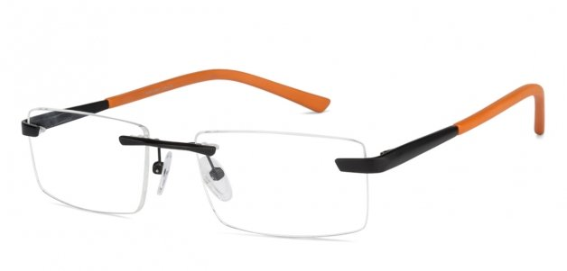 22af88036b Black Orange Rimless Rectangle Medium (Size-52) Vincent Chase RIMSTEEL VC  E10985 -C5 Eyeglasses at LensKart.com